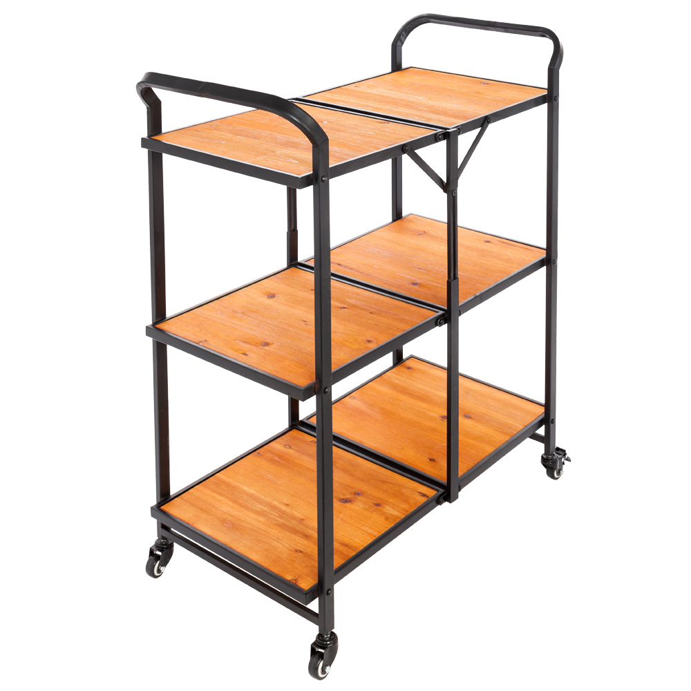 Details About 3 Tier Folding Kitchen Trolley Cart Rolling Serving Dining  Storage Shelves