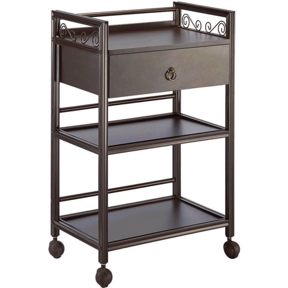 The Ashley Wooden Esthetician Trolley - Brown / 3 Shelves + 1 Drawer By Spa  Masters (xy-568-112-bn)
