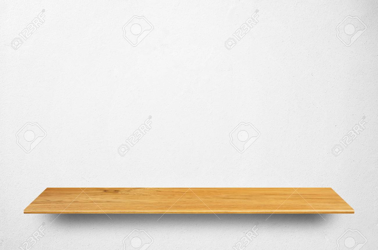 Top Wooden Shelves And Concrete Wall Background - For Product