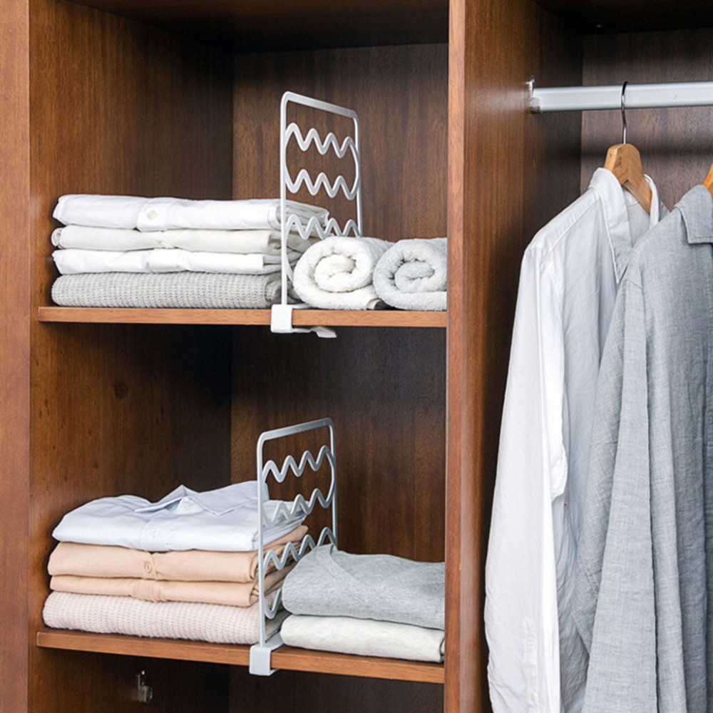 Us $329 14% Off| Closet Shelf Dividers Wardrobe Partition Shelves Divider  Clothes Wire Shelving-in Storage Holders & Racks From Home & Garden On