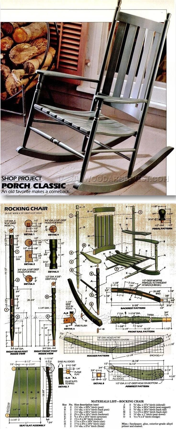 Arts And Crafts Style Shelves | Woodworking Plans | Rocking Chair