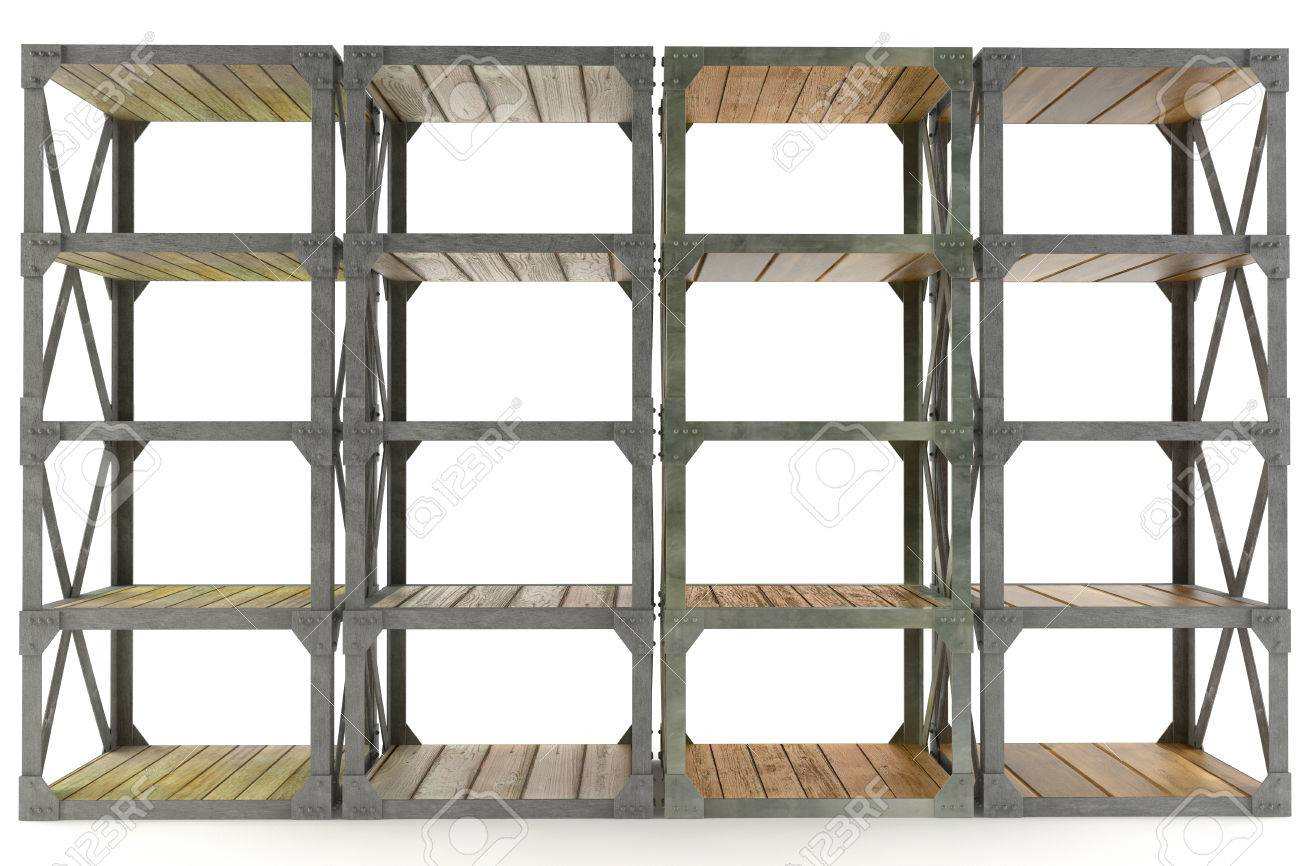 Old Style Storage Shelves Made Of Wood And Steel Isolated On