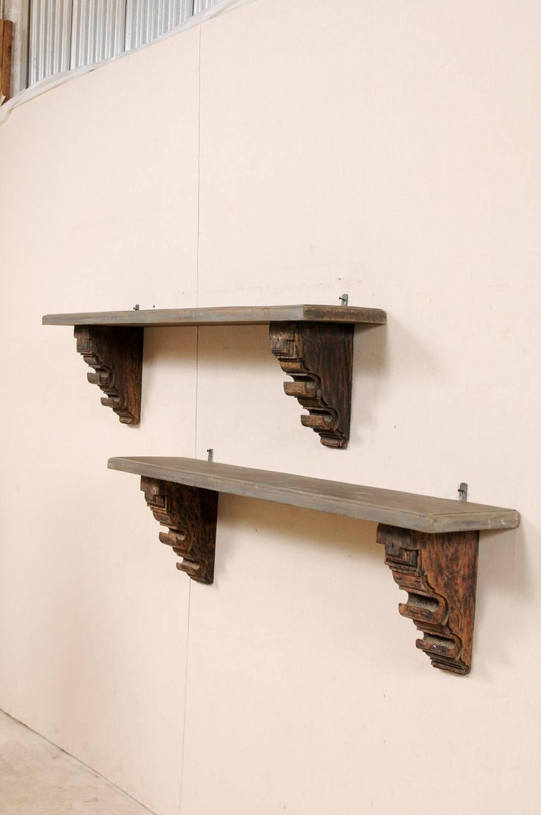 Pair Of Unique Italian Style Shelves Made Of Lovely Old Carved Wood Brackets