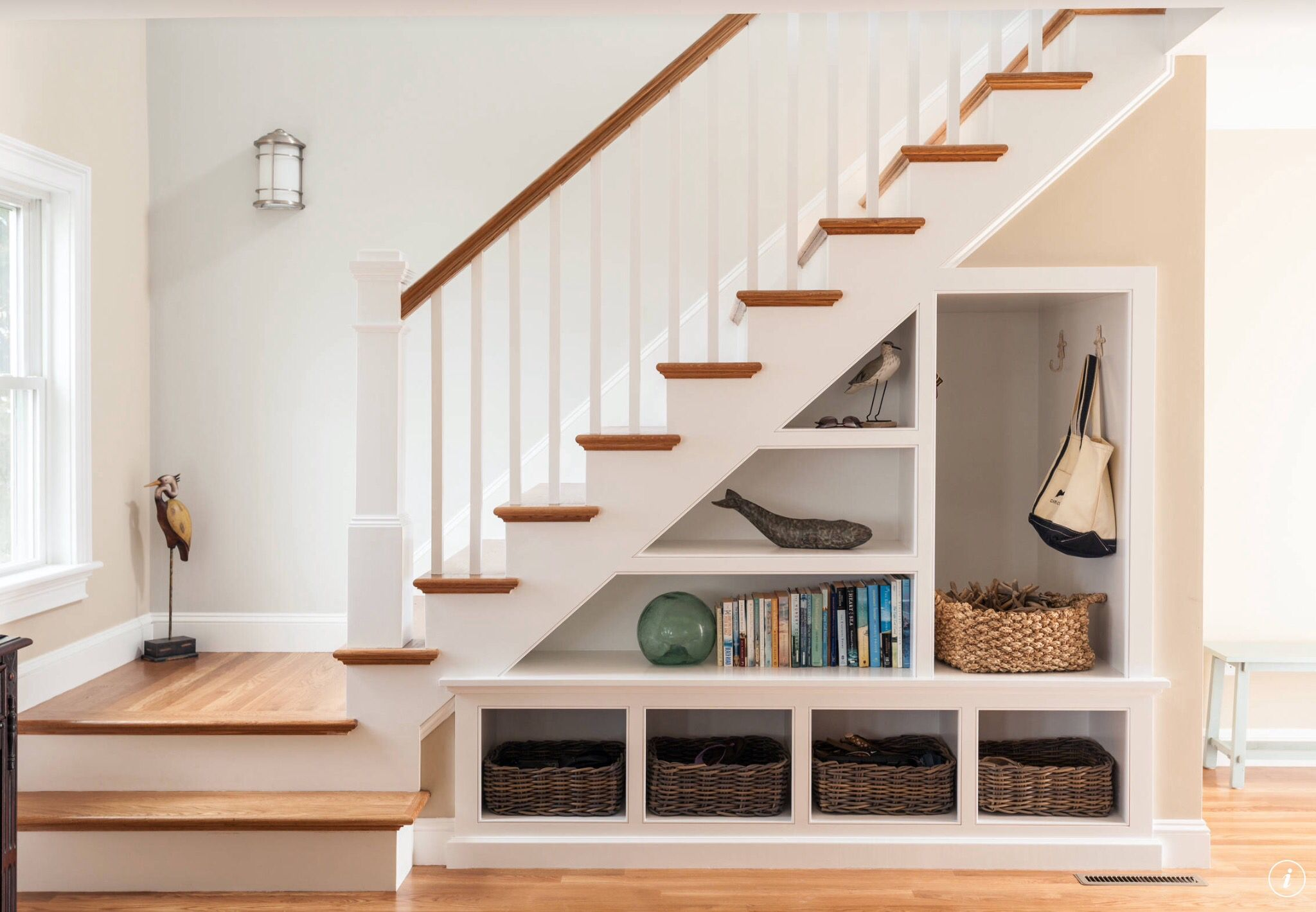 Open Shelves Under Stairs … | Design At It's Best | House…