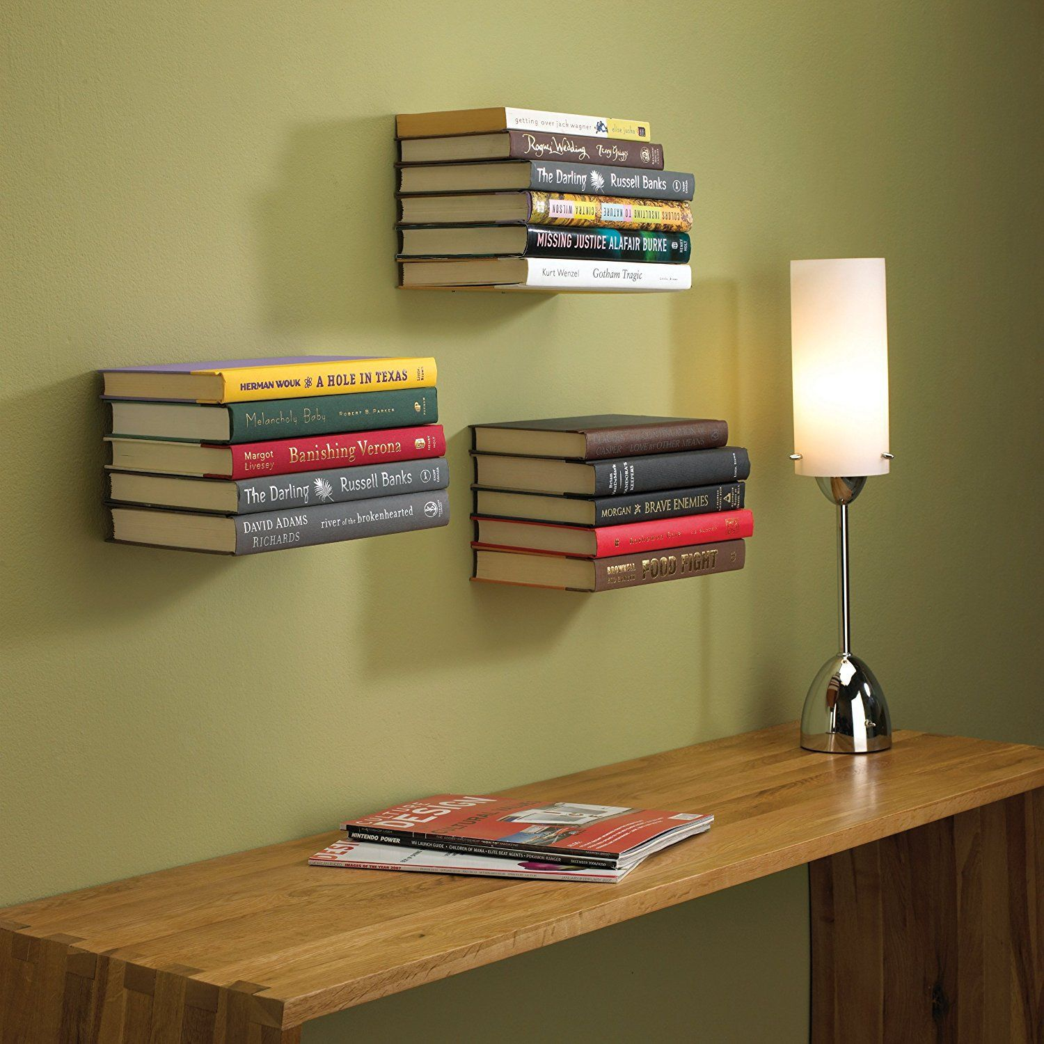Bookish Living Room | Bloggers | Floating Bookshelves, Invisible