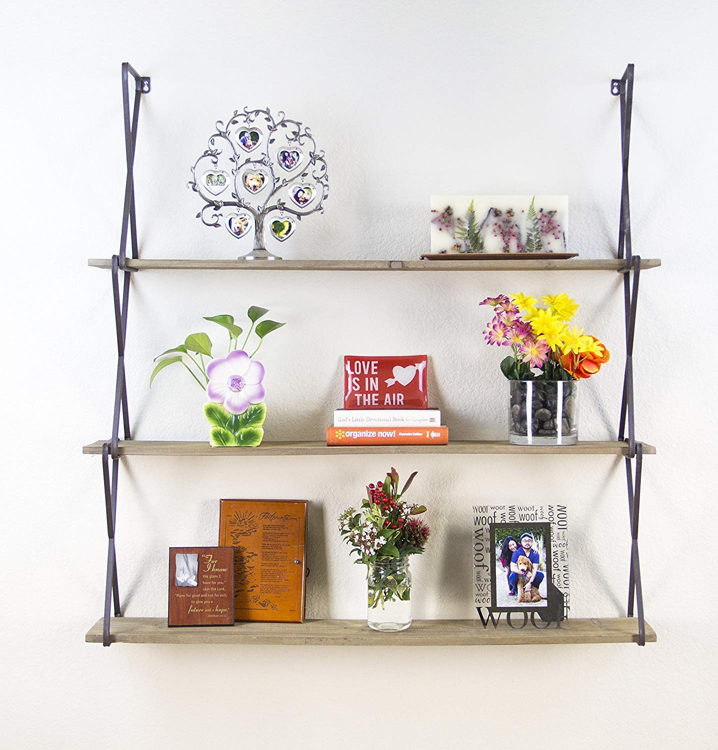 Indian Decor 28977 Rustic Floating Wood Shelves 3-tier Wall Mount