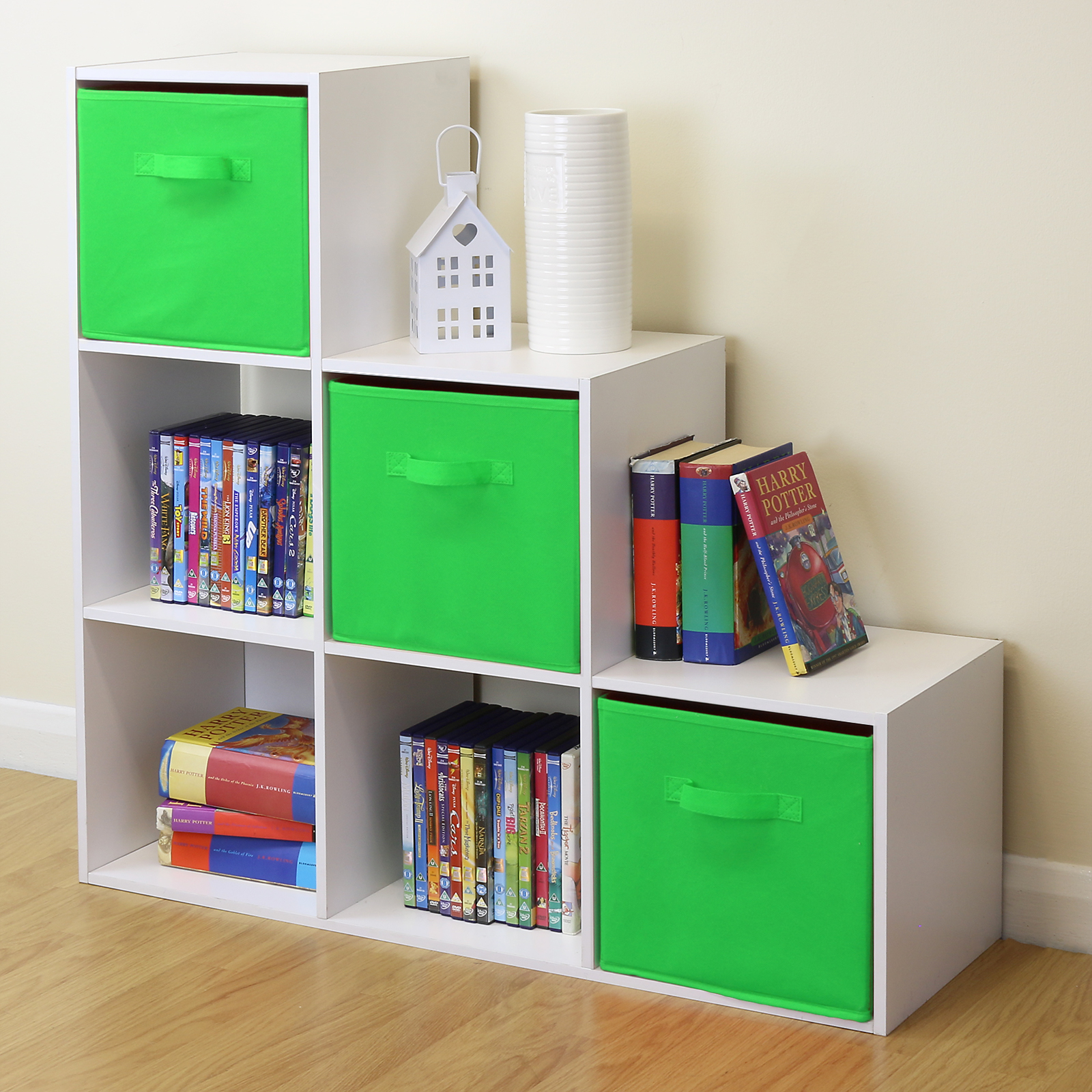 White 6 Cube Kids Toy/games Storage Unit Girls/boys Bedroom Shelves