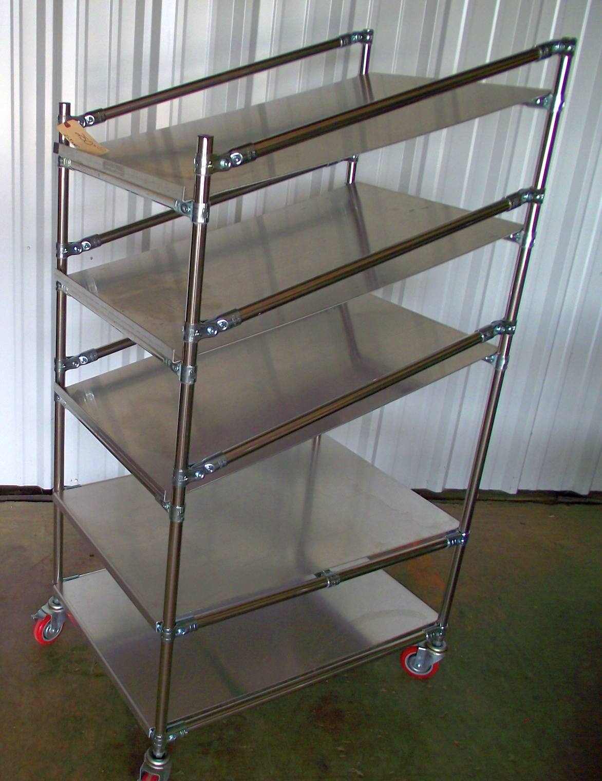 """Wire Metro Sloped Shelf Cart 24""""x36""""x65"""" Tall / 5 Shelves #a33 – Used"""