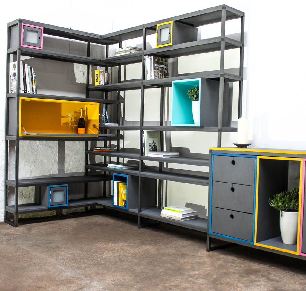 Rhys Box Section Colourful Shelves With Storage