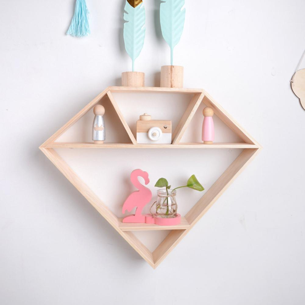 Nordic Style Wooden Shelf Diamond Shaped Storage Holder Wall Hanging  Shelves For Nursery Kids Room Decoration Photography Props