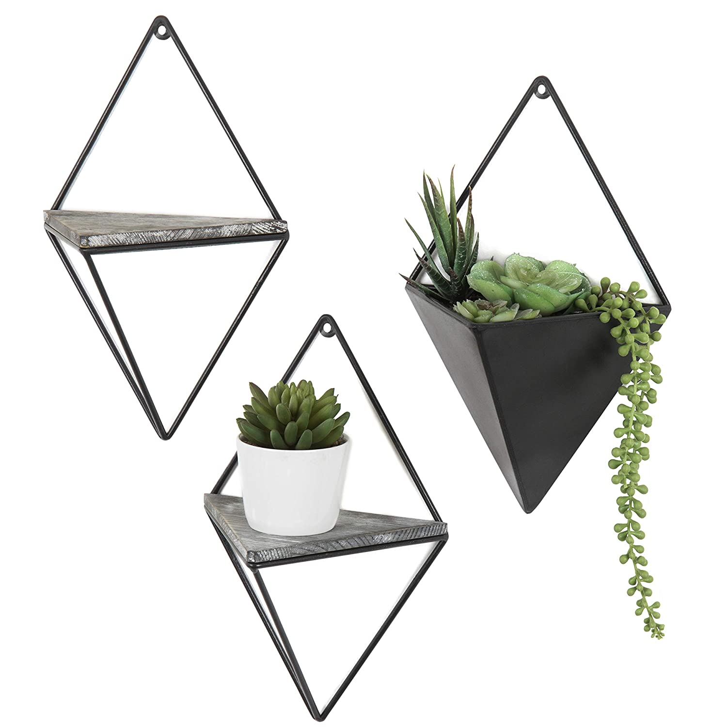 Mygift Diamond-shaped Wall-mounted Metal 2 Accent Wall Shelves
