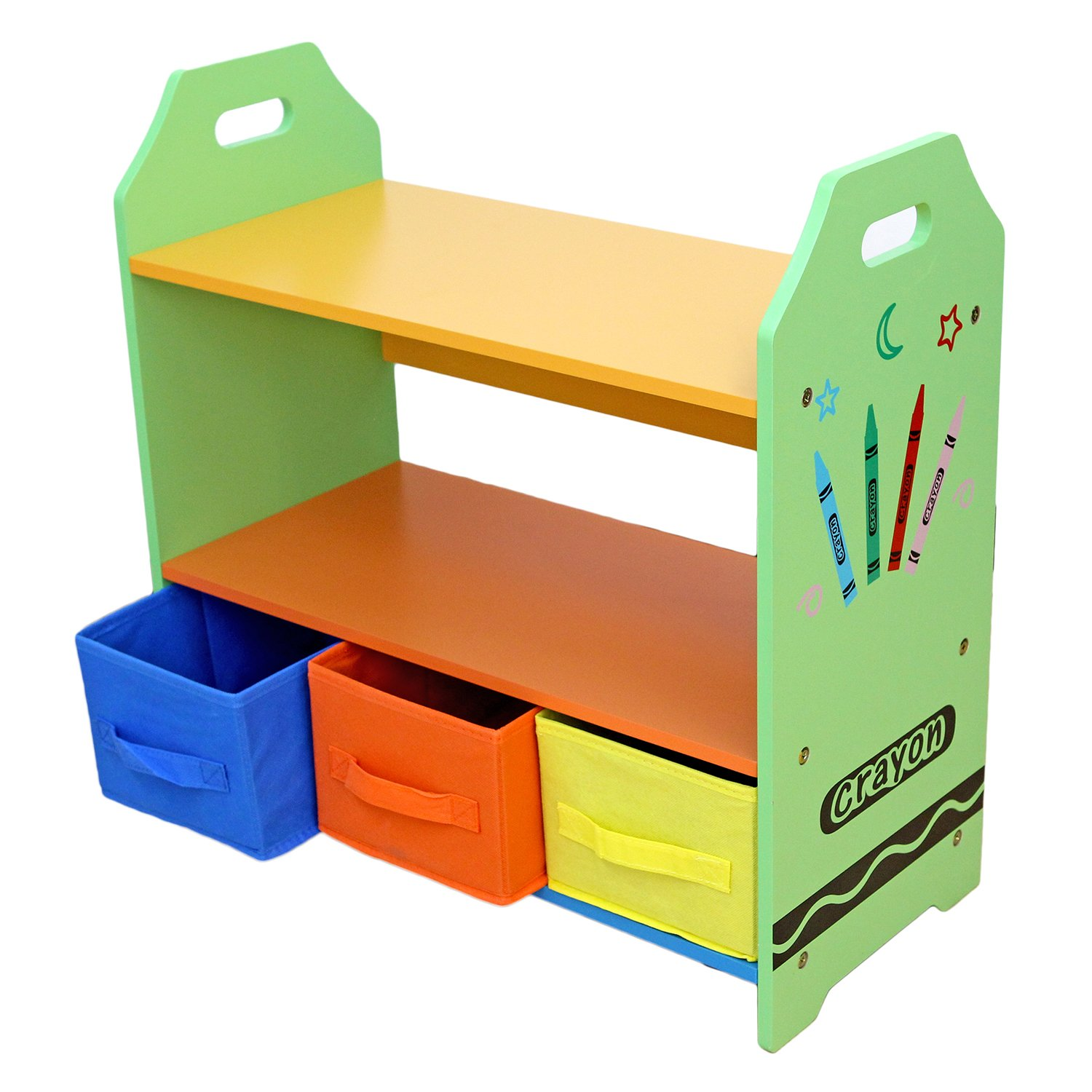 Kiddi Style Children Sized Wooden Shelves With Three Storage Boxes (crayon  Themed)