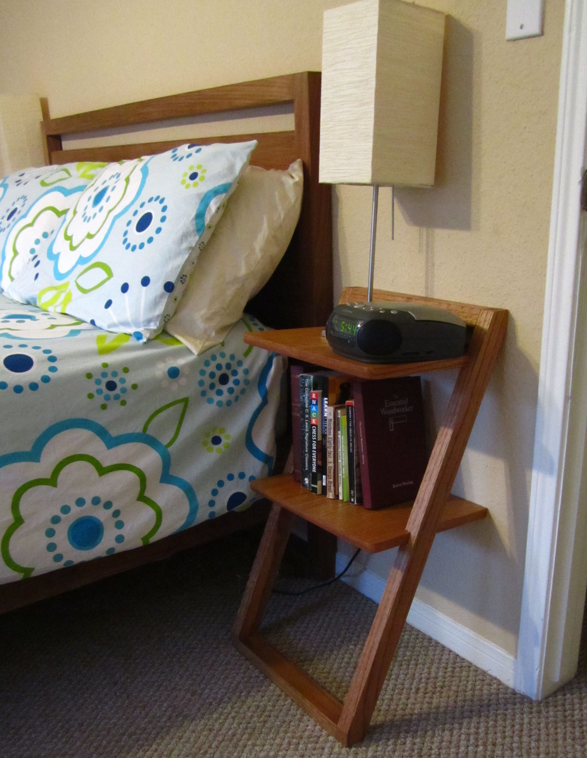 Leaning Bedside Table Shelves   T R I A L & E R R O R