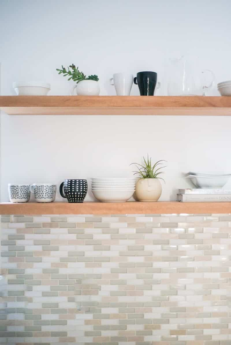 Learn How To Hang Open Kitchen Shelves - Floating Shelves An Easy Way!
