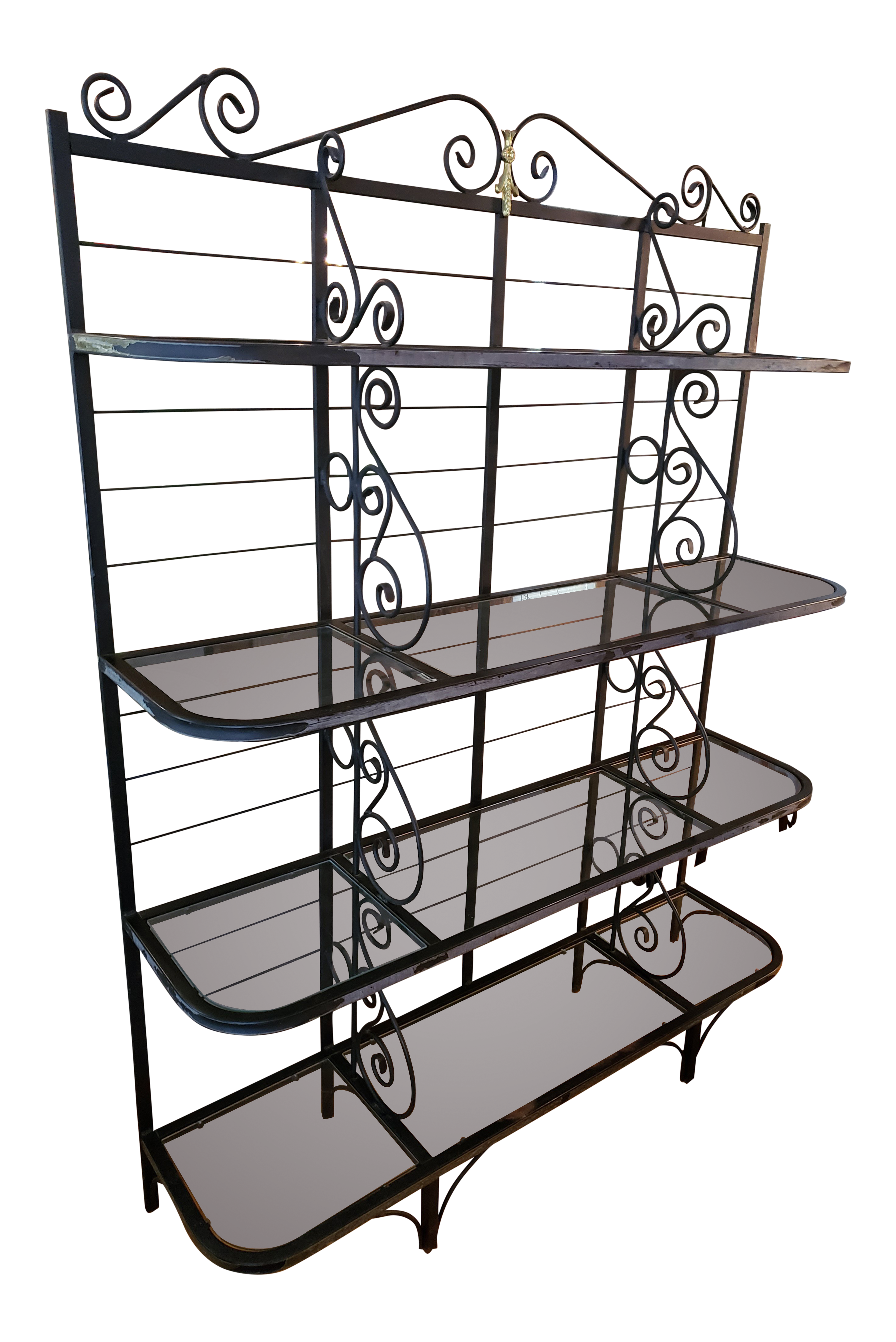 1950s Vintage Wrought Iron Bakers Rack With Glass Shelves   Chairish