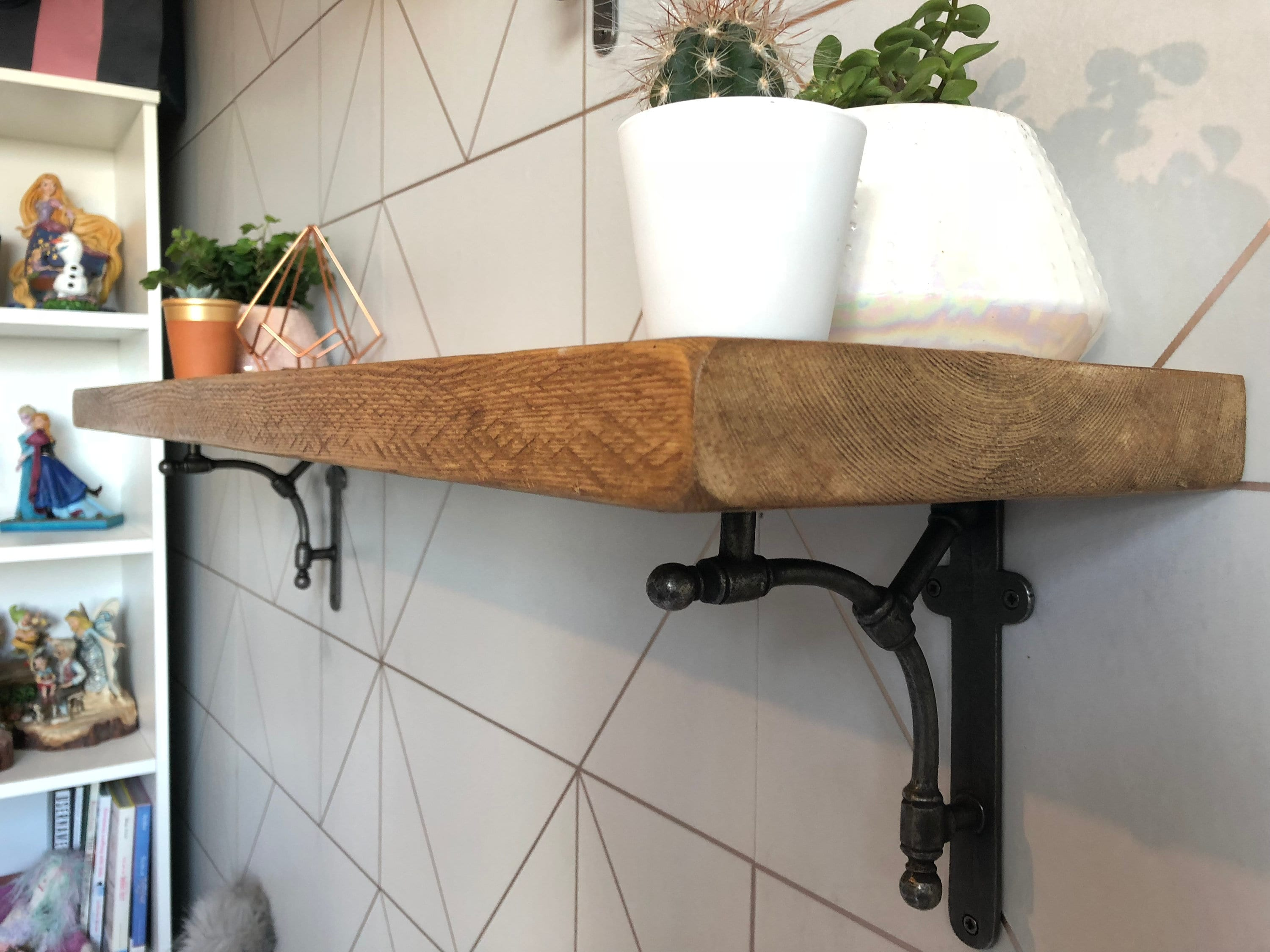 Reclaimed Shelves Industrial Wood Shelf With Cast Iron Albian |