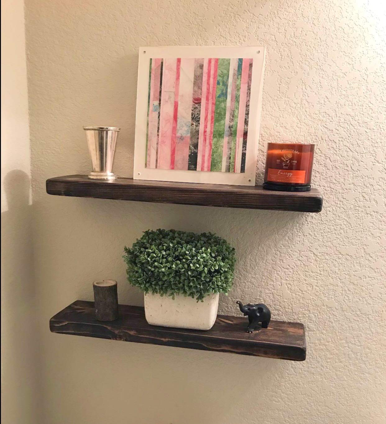 Dark Walnut Floating Shelves With Invisible Hangers By
