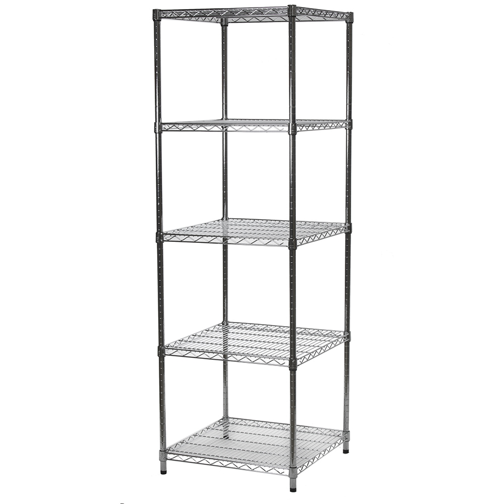 """24""""d X 24""""w Wire Shelving Units With Five Shelves   Chrome Shelving"""
