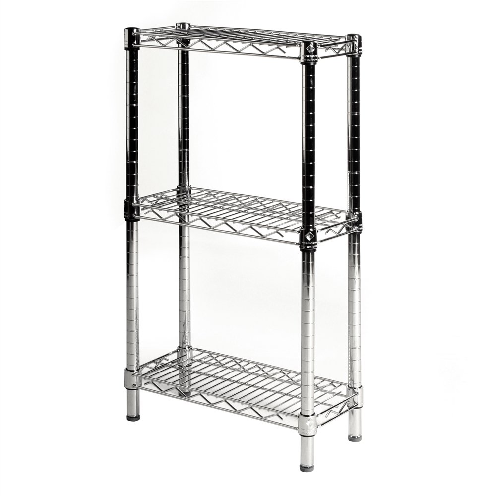 """8"""" D X 24"""" W Chrome Wire Shelving With 3 Shelves"""