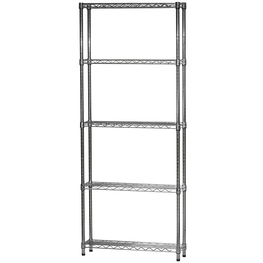 """8""""d X 30""""w Chrome Wire Shelving Unit With 5 Shelves"""