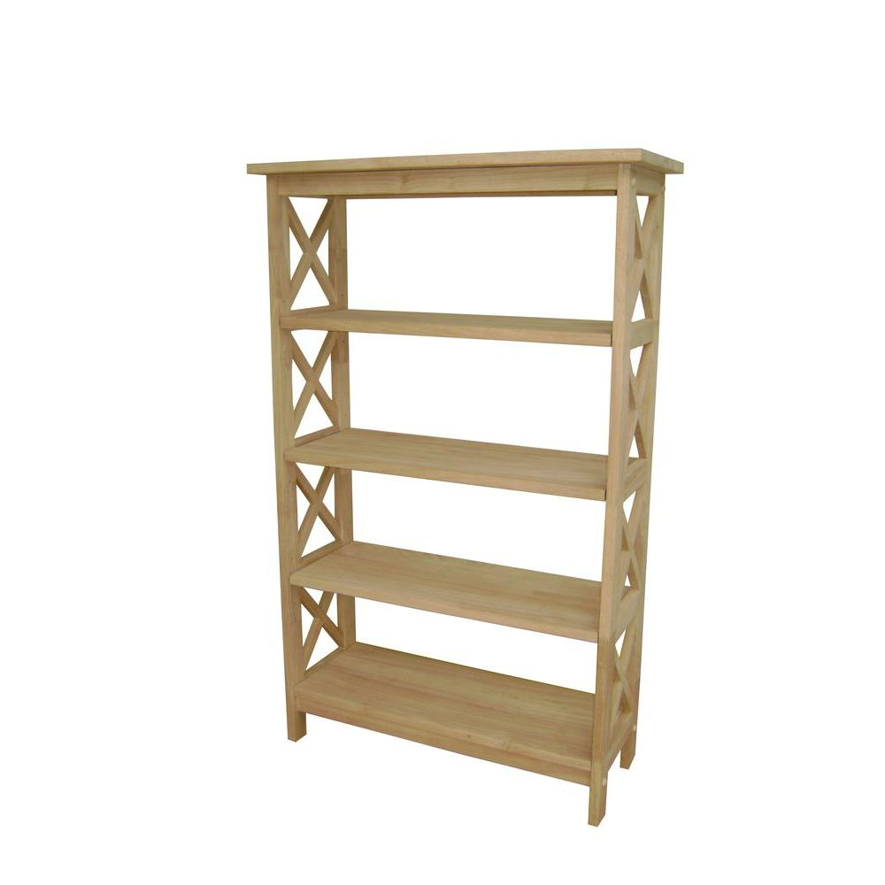 Details About Unfinished Open Bookcase 48 In H 4 Shelves Transitional  Style Solid Hardwood
