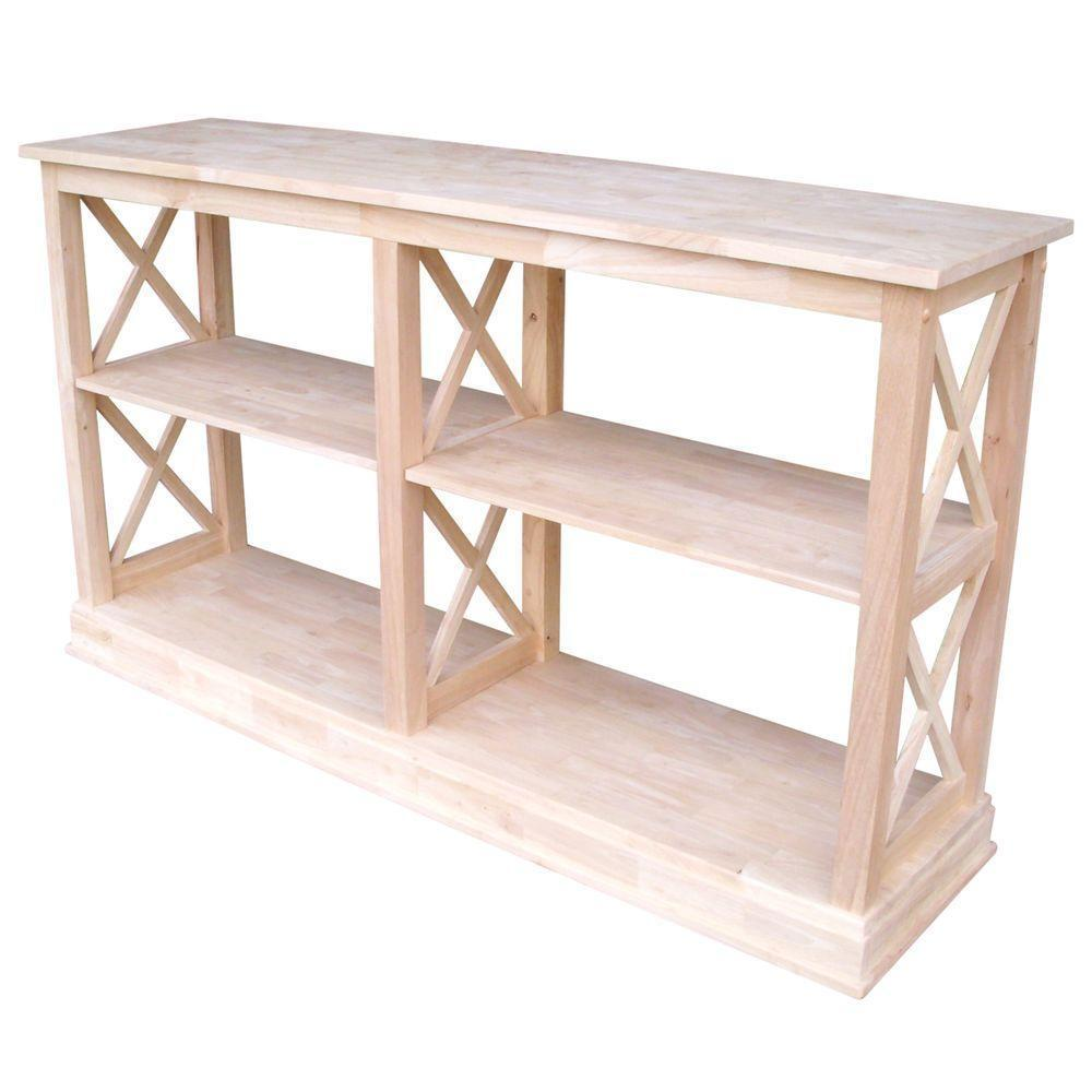 Console Table 60 In W Rectangle Unfinished Wood Frame X-design With  2-shelves