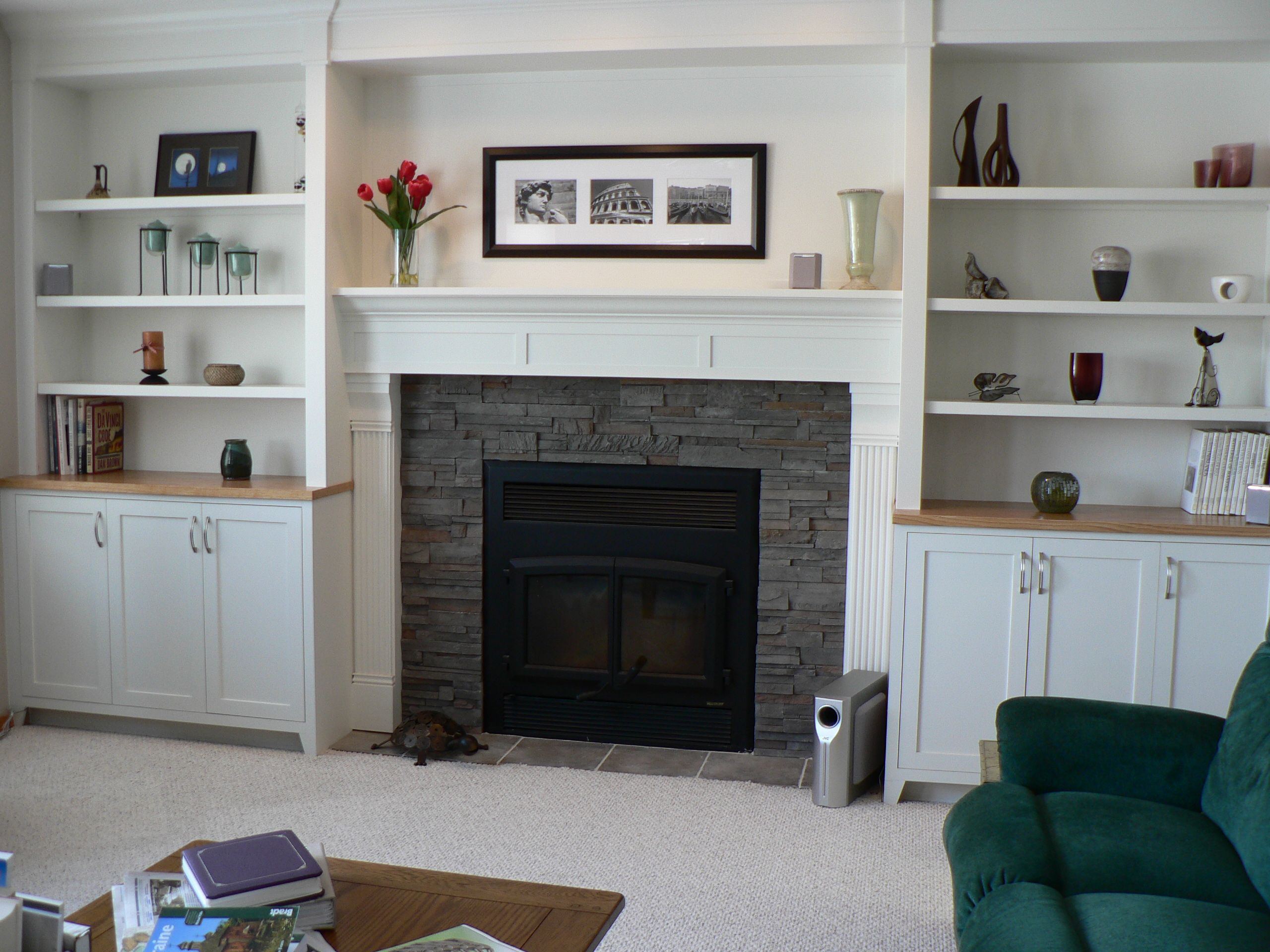 Fireplace Mantle And Surround With Cabinets/shelves | Fireplaces In