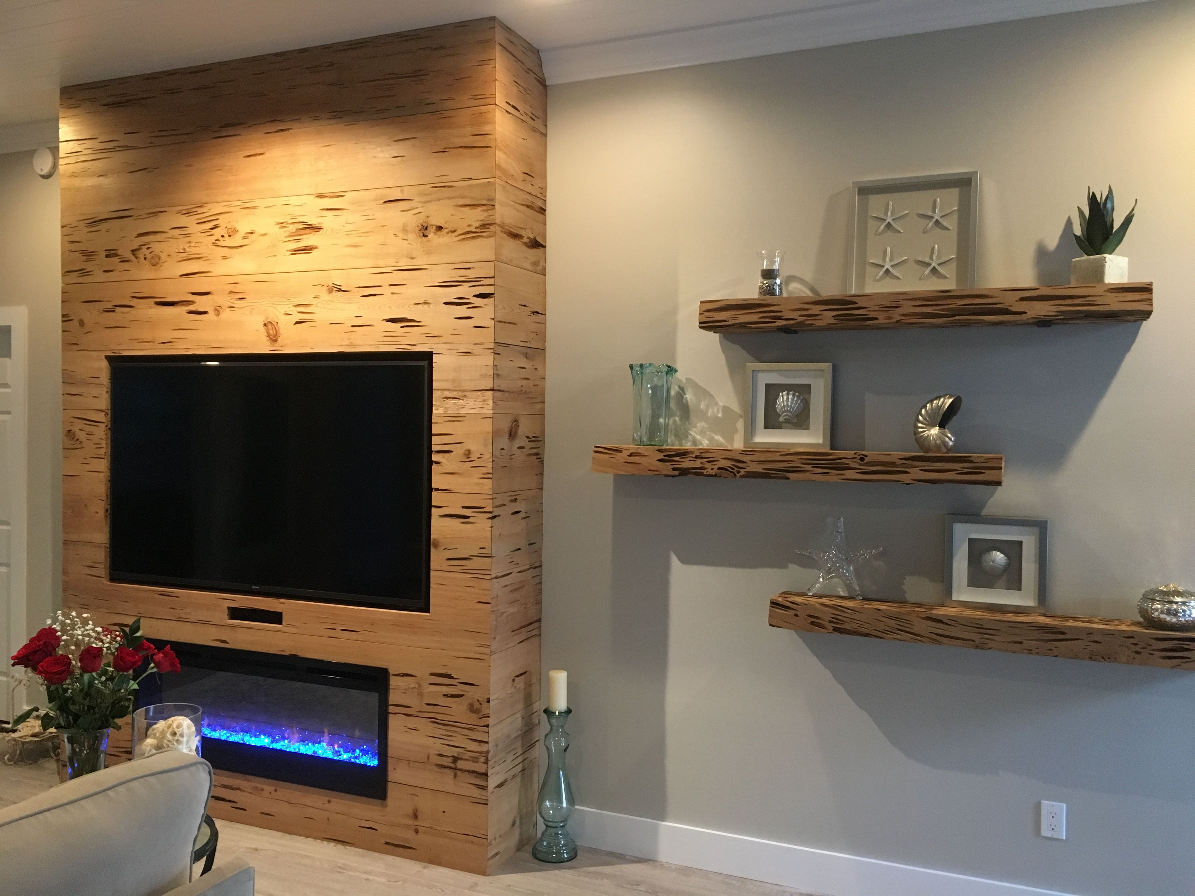 Pecky Cypress Fireplace Surround And Floating Shelves   Fireplace In