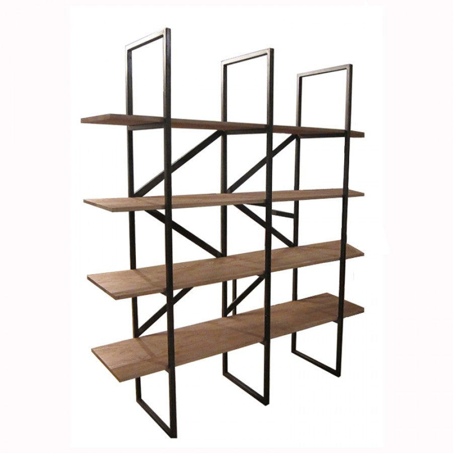 Architectural Vision Shelving Unit With Solid Wood Shelves And Black  Iron Frame