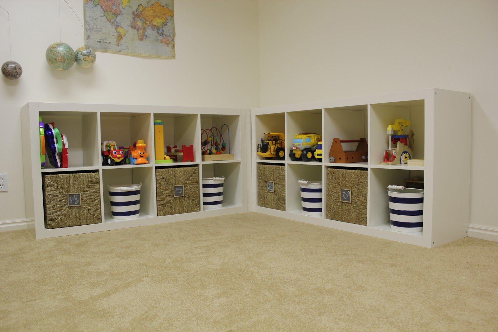 Kids Shelves With Baskets   Also Got 4 Knipsa Baskets From Ikea That