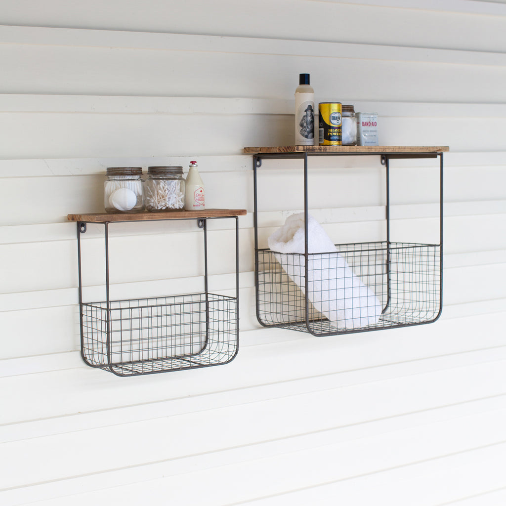 Masie Wire Basket Shelves With Reclaimed Wood Set