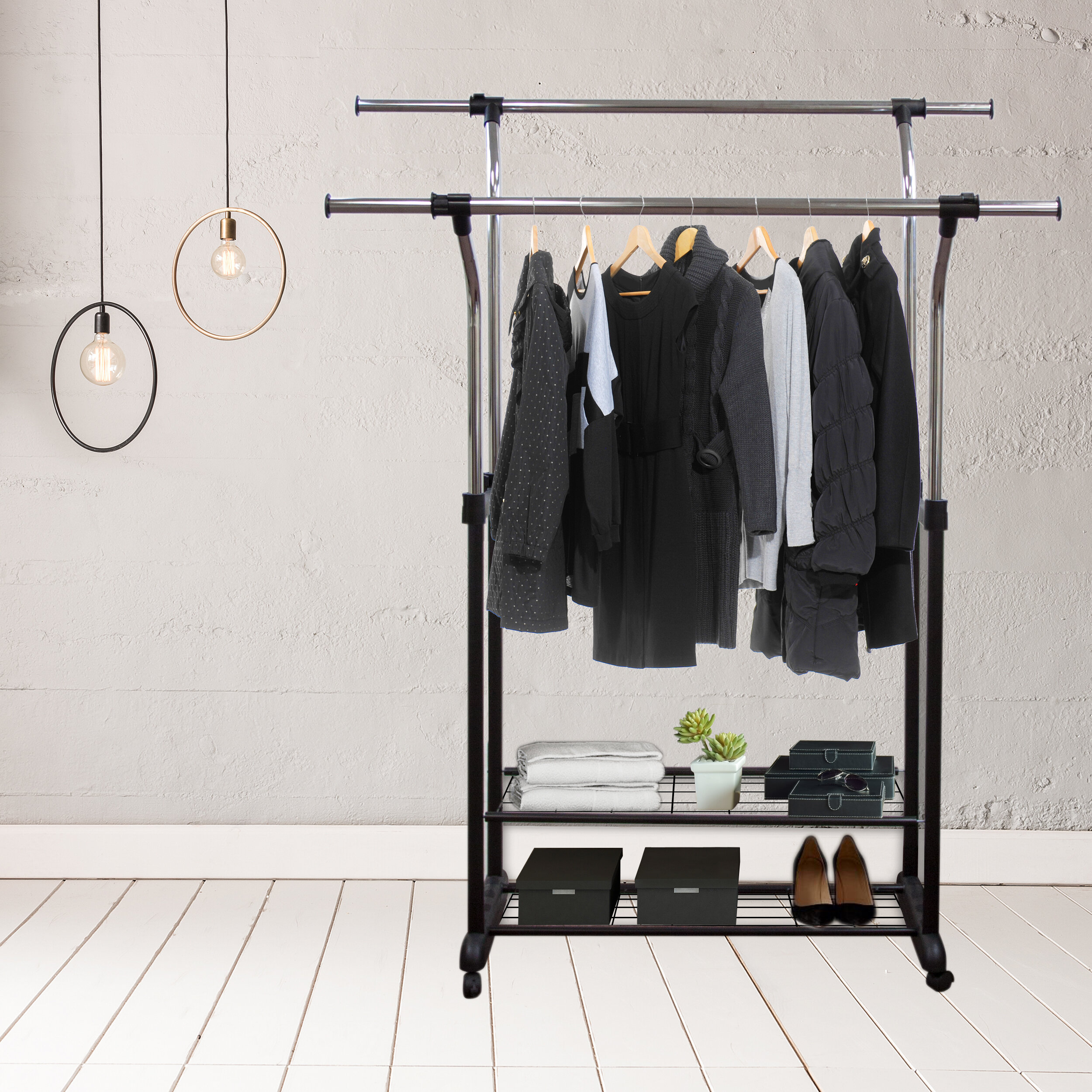 """Mobile 60"""" W Double Rail Clothes Rack With Utility Shelves"""