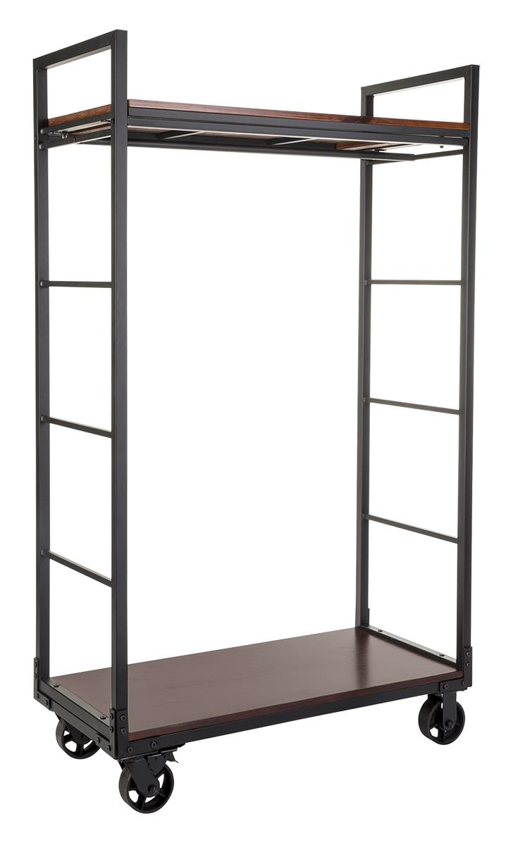 Rolling Clothing Rack With 2 Wooden Shelves & Hanging Rail - Mahogany