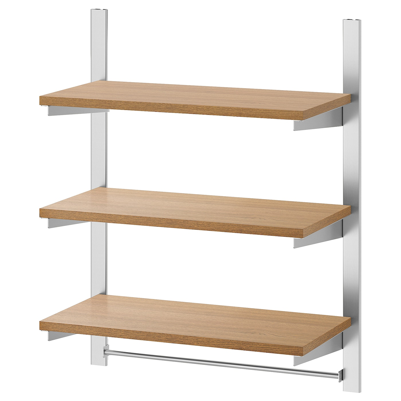 Kungsfors Suspension Rail W Shelves And Rail, Stainless Steel, Ash