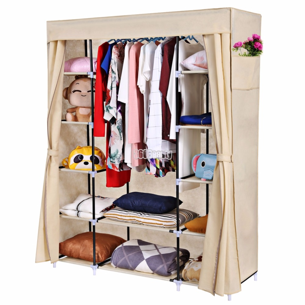 Us $3699 |homdox Portable Closet Storage Organizer Clothes Wardrobe Shoe  Rack Shelves + Cover Side Pocket N20*-in Wardrobes From Furniture On