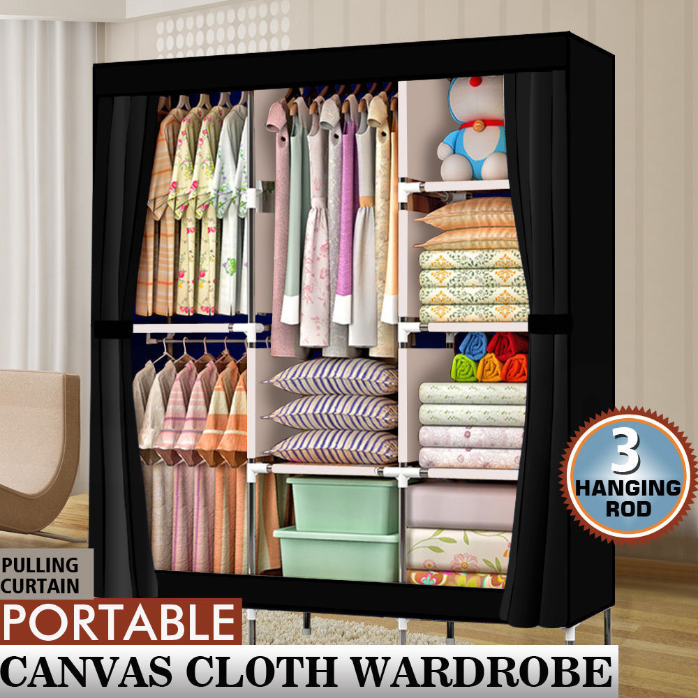 "Details About 71"" Portable Clothes Storage Closet Organizer Shelf Wardrobe  Rack Shelves Fabric"