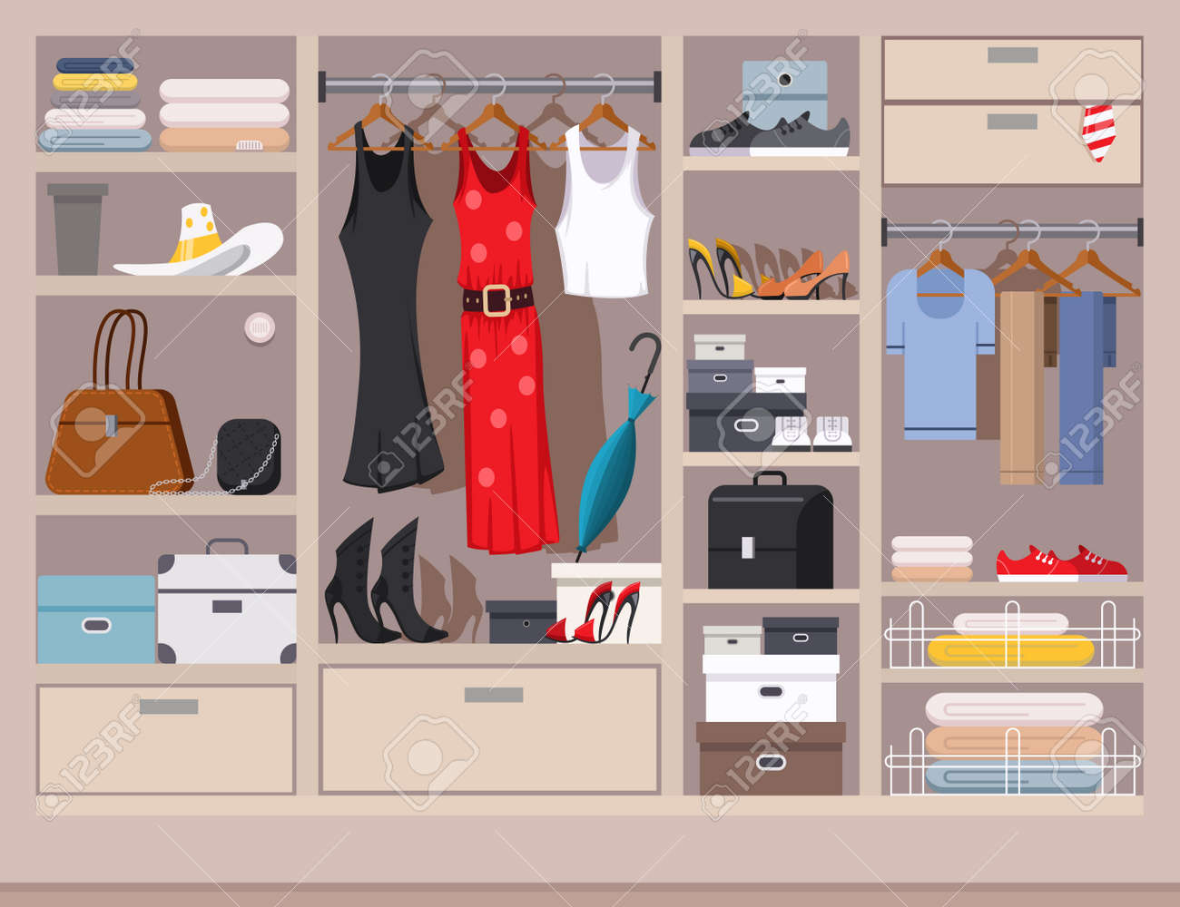 Open Wardrobe With Women's And Men's Clothing Closet With Shelves,