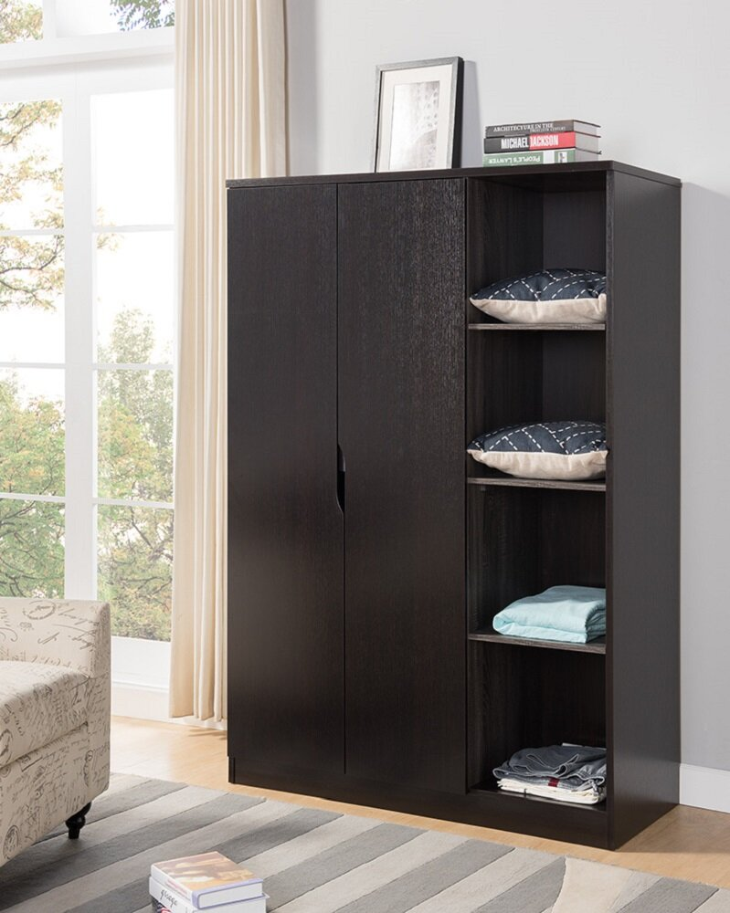 Renay Wooden Storage Cabinet Open Shelves Wardrobe Armoire