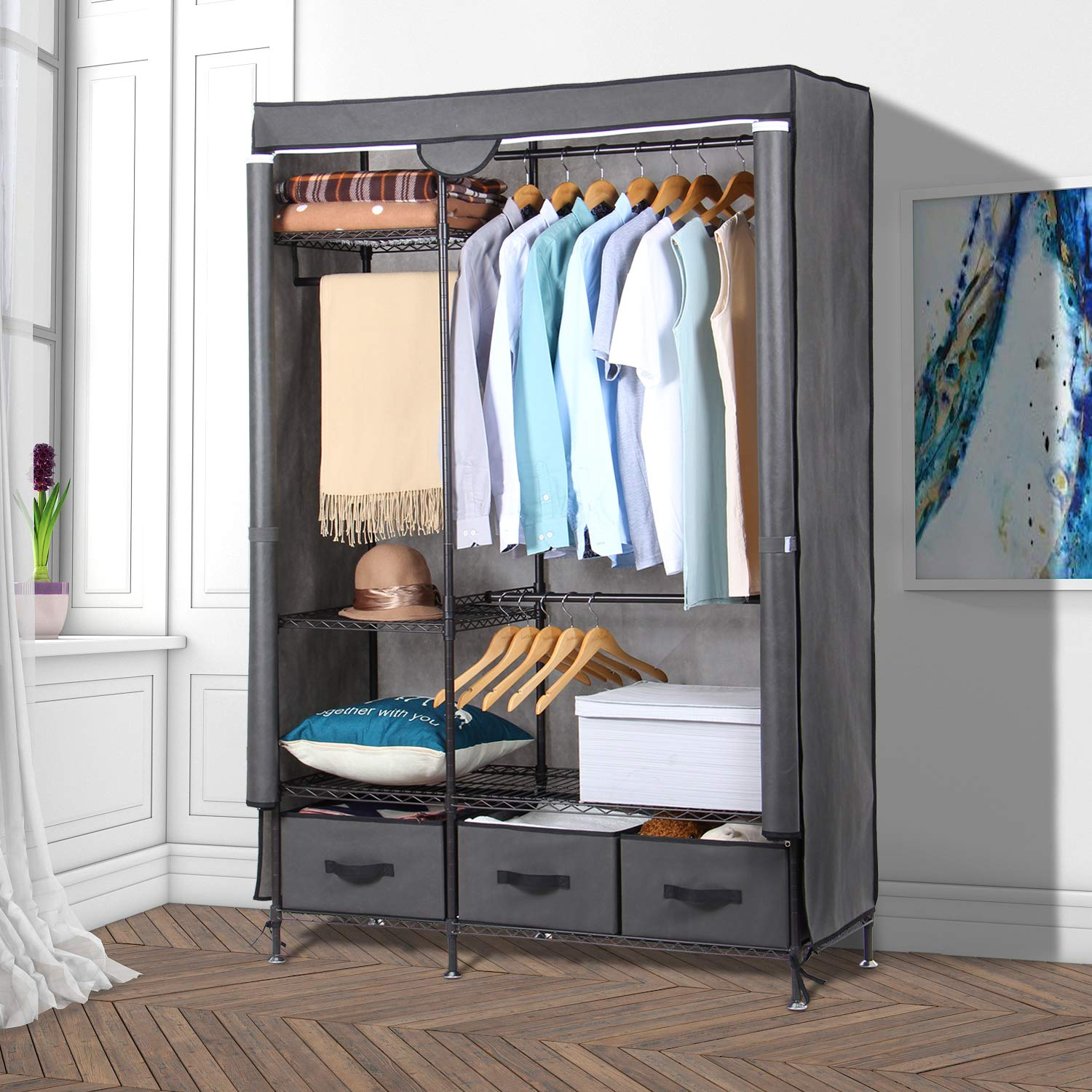 Lifewit Full Metal Closet Organizer Wardrobe Closet Portable Closet Shelves  With Adjustable Legs, Non-woven Fabric Clothes Cover And 3 Drawers, Sturdy