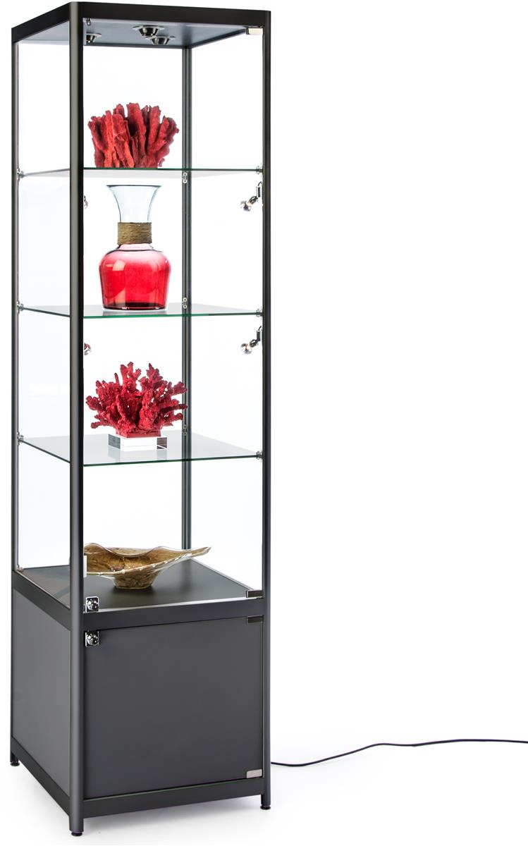 """20"""" Glass Display Case W/ Lights & Base Cabinet, Fixed Shelves, Hinged Door  - Black"""