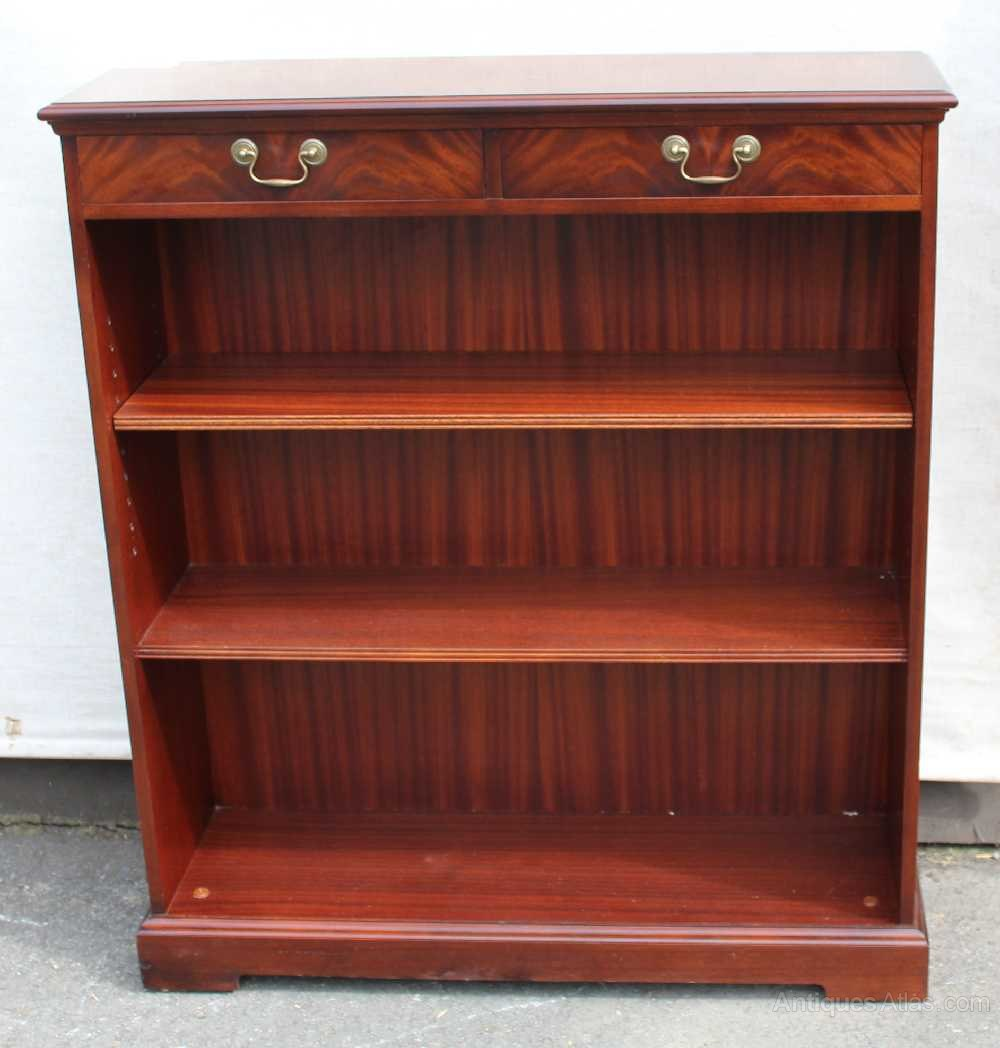 Mahogany Open Bookshelves With 2 X Drawers And 2 X