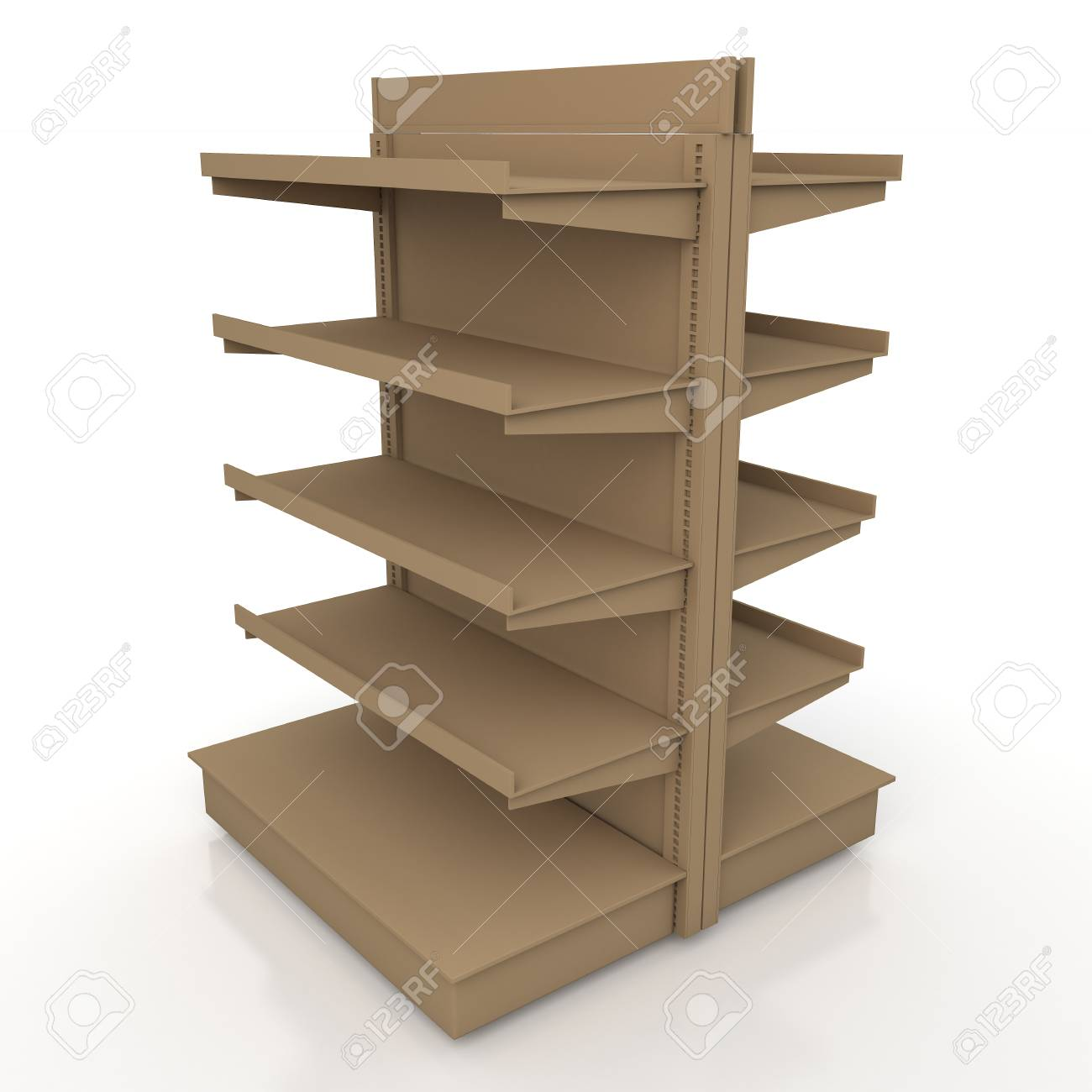 3d Original Brown Racks Shelves 2 Side For Products Showing In