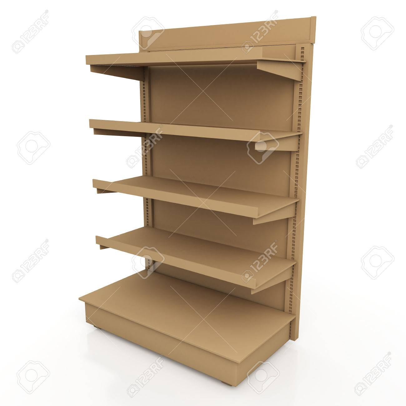 3d Original Brown Racks Shelves For Products Showing In Isolated