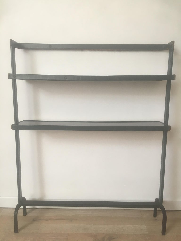 Jacques Adnet Original Green Stitched Leather Bookcase, 2 Shelves, French,  1950s
