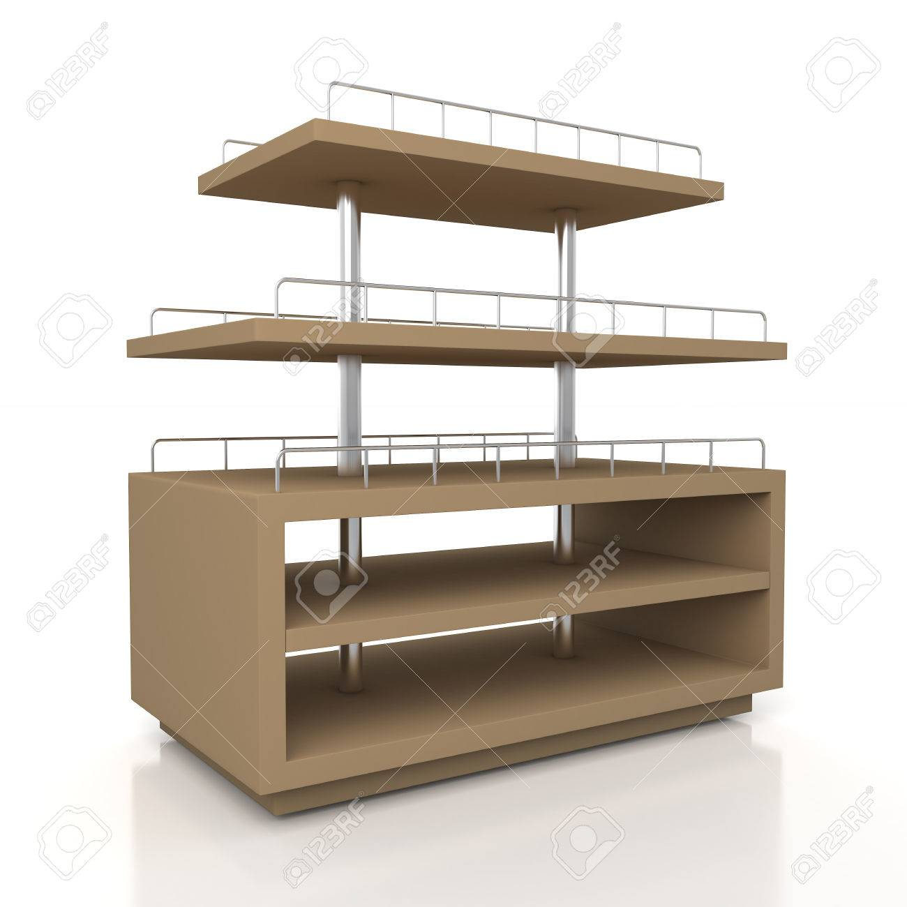 3d Original Brown Racks Shelves For Bakery Products Showing In