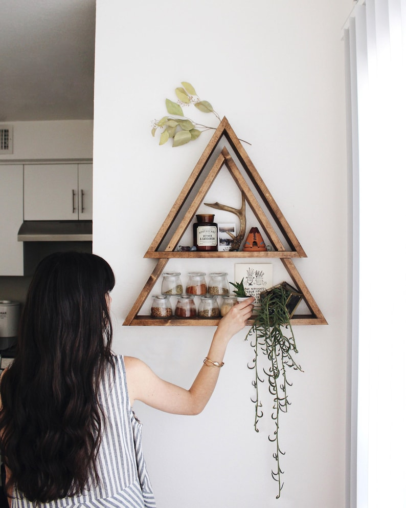 The Original Stacked Triangle Shelf Geometric Shelf Modern Shelf  Bohemian Shelf Triangle Shelf Triangle Shelves Dual Shelves