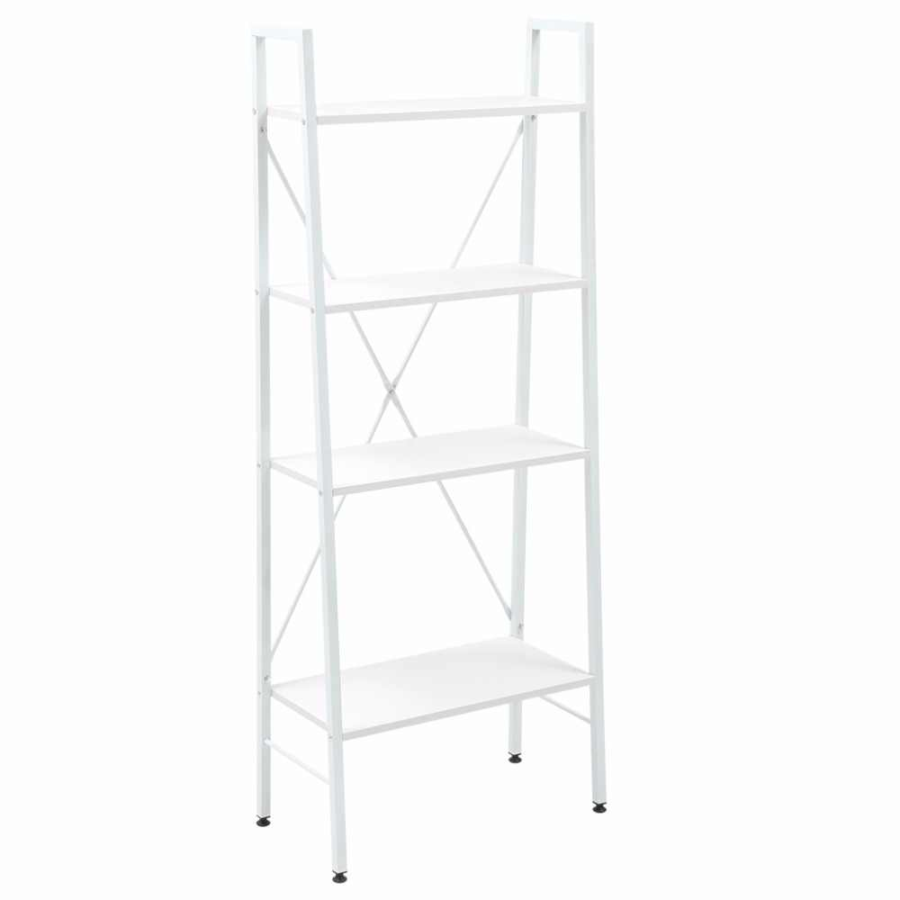 Langria Brand Ladder Bookcase White Big 4-tier Ladder Bookcase Storage  Shelves And Display Standing Shelving Unit
