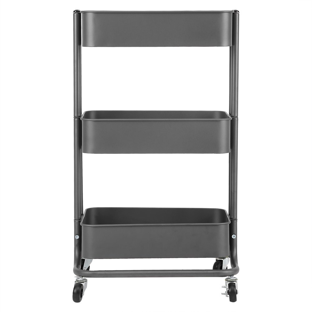 3-tier Metal Utility Service Cart Rolling Storage Shelves With Handles,  Blue Storage Utility Cart (iron Grey)