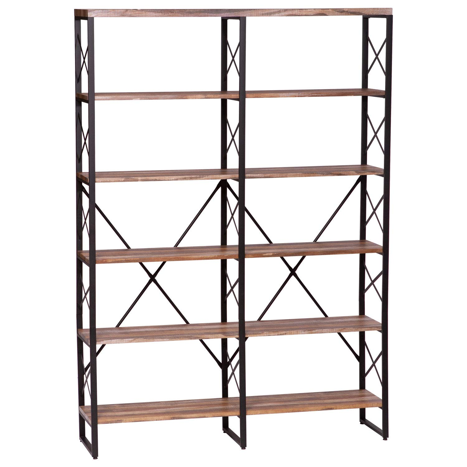 """Ironck Bookshelf, Double Wide 6-tier 70"""" H Open Bookcase Vintage Industrial  Style Shelves Wood And Metal Bookshelves, Home, Office Furniture"""