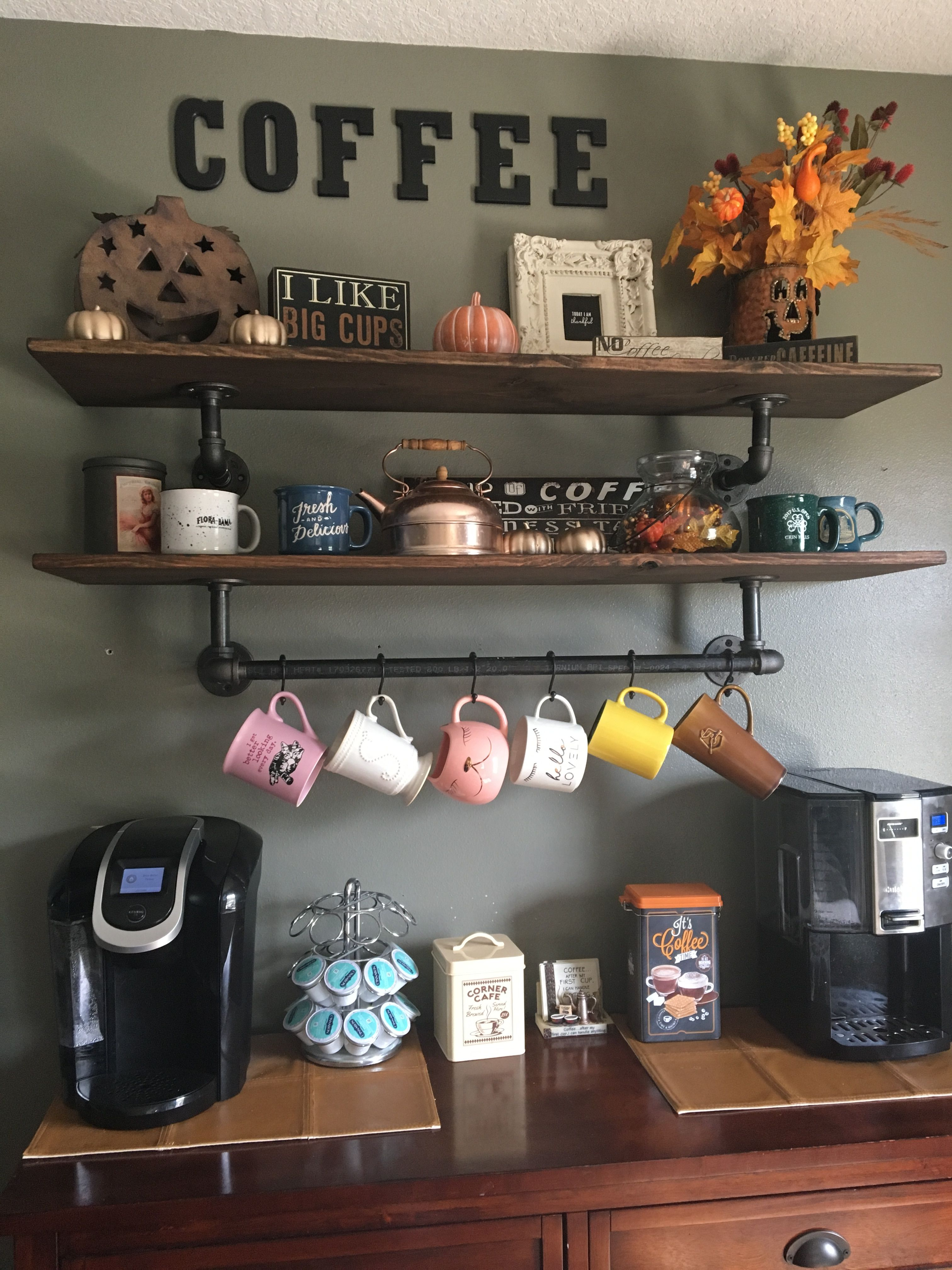 Coffee Bar With Industrial Pipe Shelves   For The Home In 2019